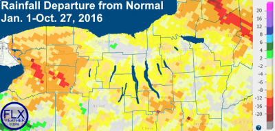 Precipitation deficits since the beginning of 2016 remain as high as 8 to 12 inches below normal in some areas. Click to enlarge.