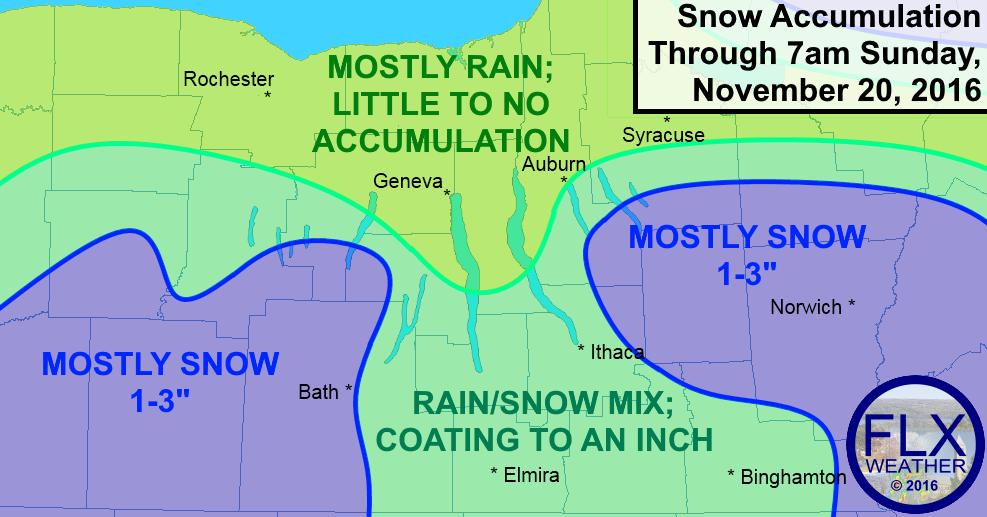 Anticipated precipitation types and snow amounts Saturday night into early Sunday. Local variation will be high.