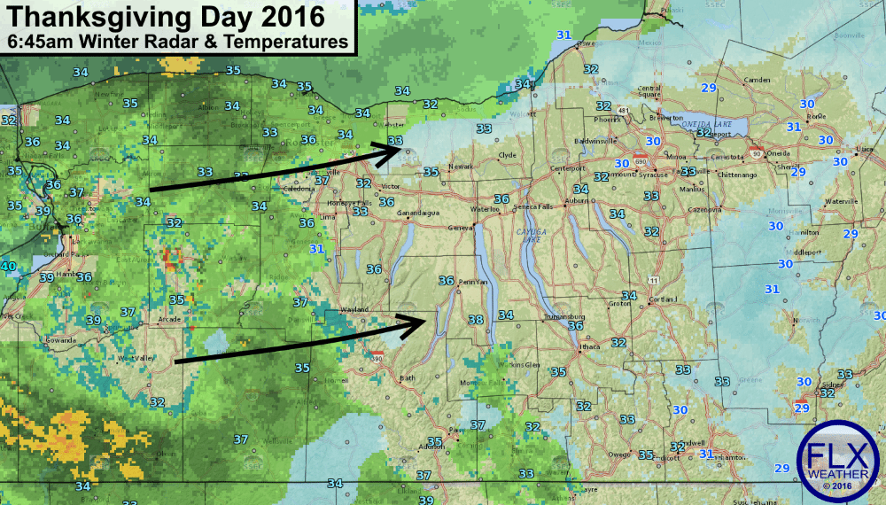 finger lakes weather thanksgiving morning ice mixed precipitation rain