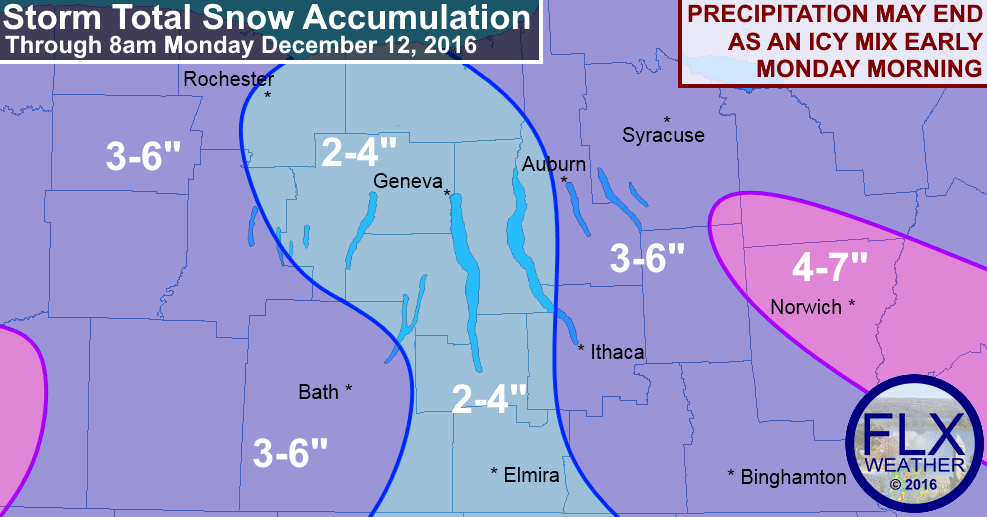 finger lakes snow accumulation sunday december 11 monday december 12 2016 winter weather advisories