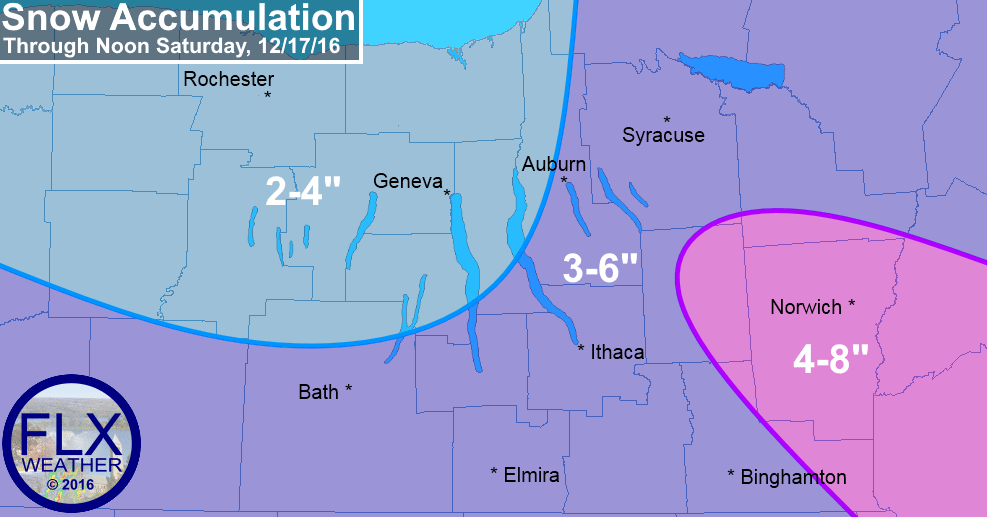 finger lakes weather forecast snow accumulation map saturday december 18 2016