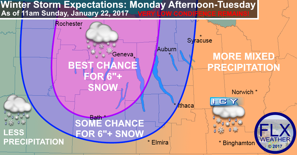 finger lakes weather forecast winter storm snow snowstorm accumulation january 23 january 24