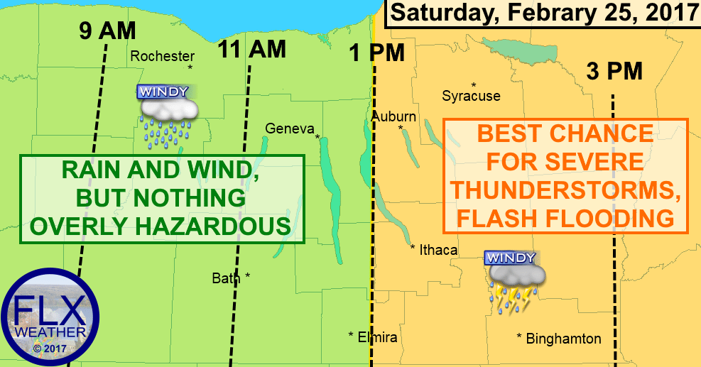 finger lakes weather forecast thunderstorms cold front severe wind flash flooding saturday february 25 2017