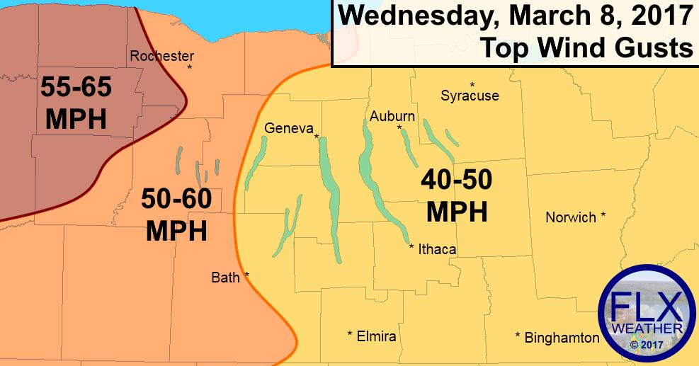 finger lakes weather forecast wind gusts advisory warning wind damage