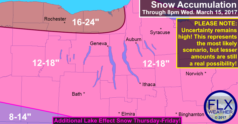 finger lakes weather forecast snow map accumulations noreaster march 14 2017