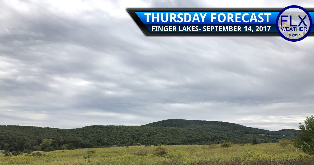 Local downpours slowly drift through the Finger Lakes