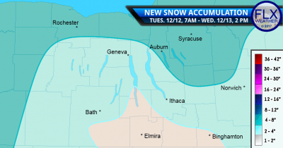 finger lakes weather forecast snow accumulation map tuesday december 12 2017 wednesday december 13 2017