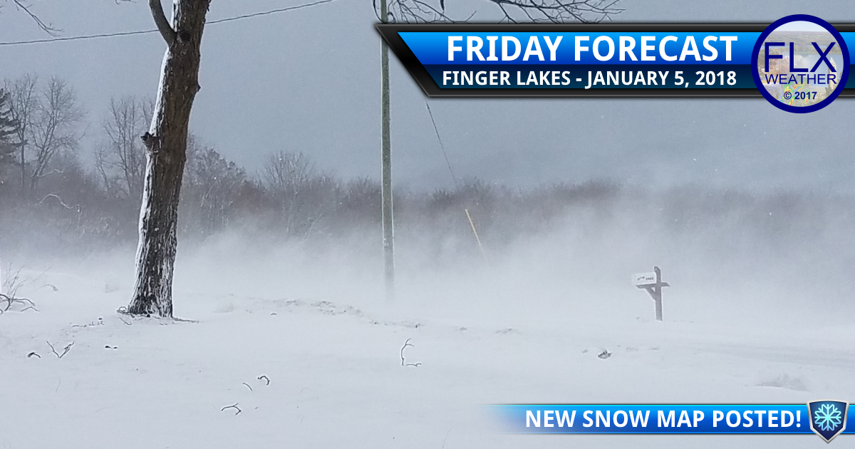 finger lakes weather forecast friday janauary 5 2018 snow blowing snow wind chill warning