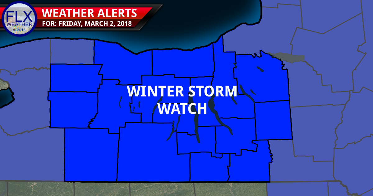 Pushing 60 Wednesday, Winter Storm Watch for Friday