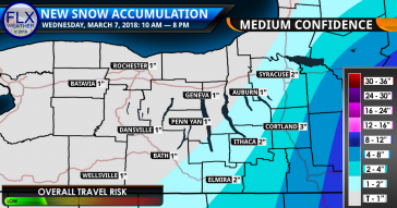 finger lakes weather forecast nor'easter snow map wednesday march 7 2018