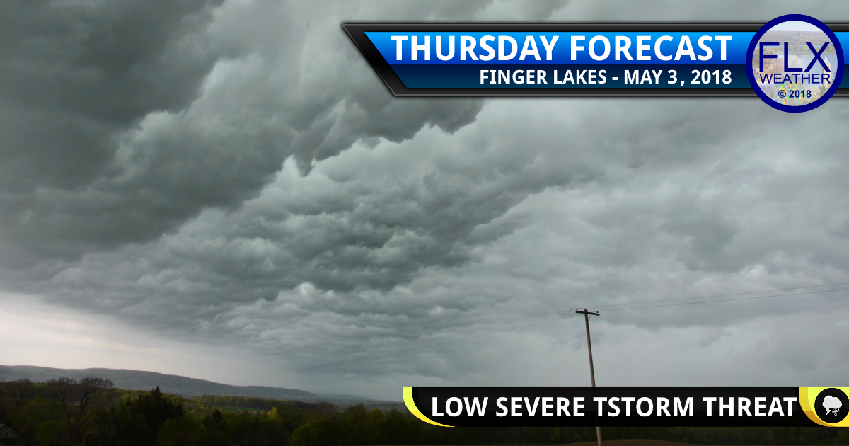 A few strong thunderstorms late Thursday in the Finger Lakes