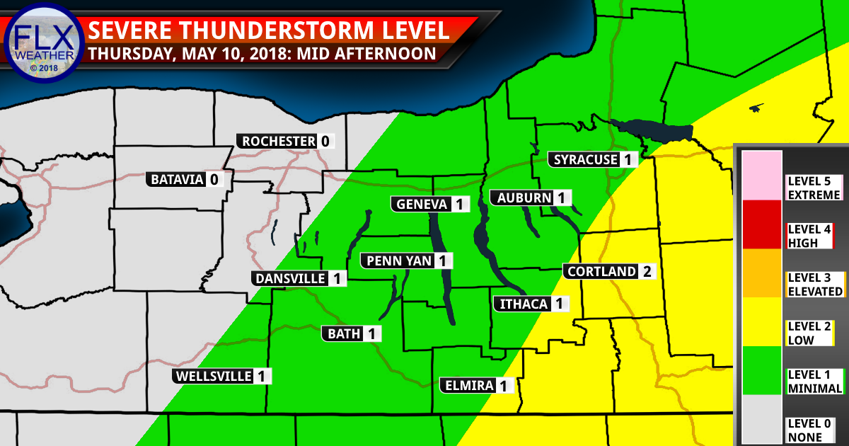 finger lakes weather forecast thursday may 10 2018 severe thunderstorm threat map