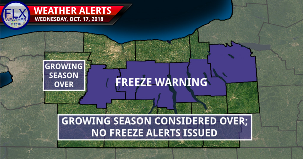 finger lakes weather freeze warning map wednesday october 17 2018