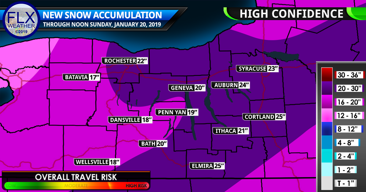 Strong Winter Storm This Weekend Snow Map Details Finger Lakes