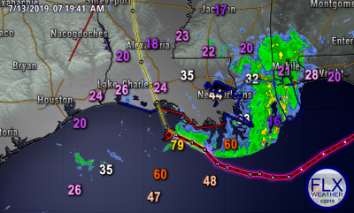 tropical storm barry path wind gusts saturday july 13 2019 7 am
