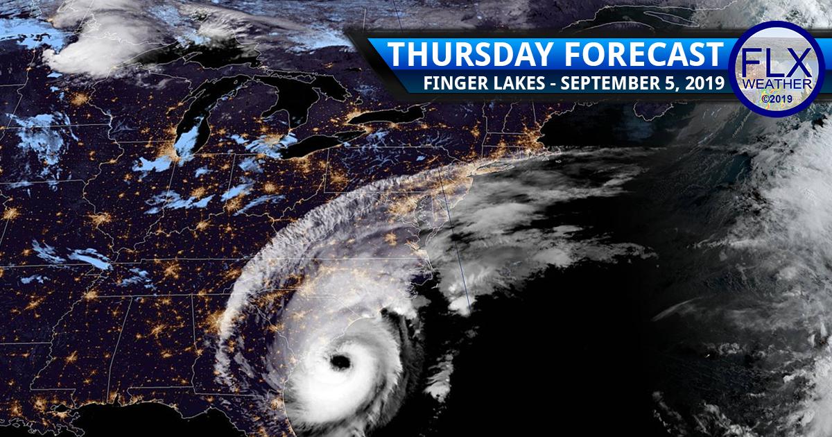 finger lakes weather forecast thursday september 5 2019 high pressure hurricane dorian track sunshine cool temperatures