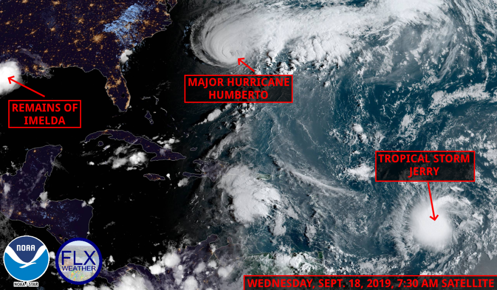 atlantic tropical satellite wednesday september 18 2019 hurricane humberto tropical storm imelda tropical storm jerry